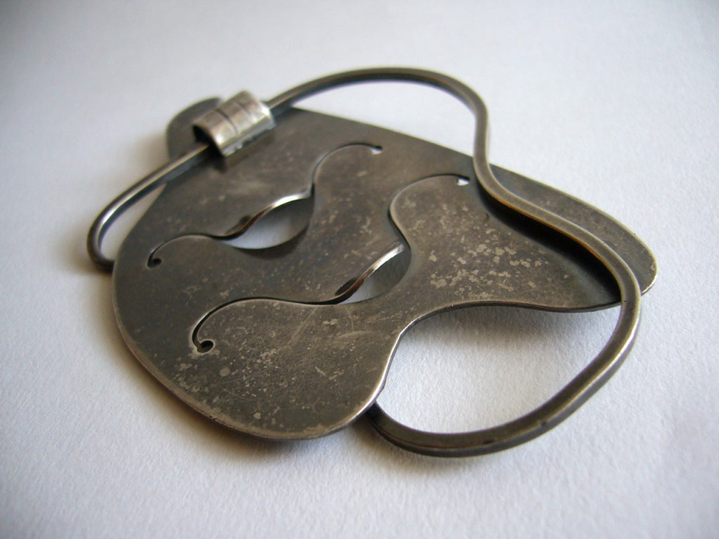 Modernist Paul Lobel Free-Form Sterling Silver Brooch For Sale