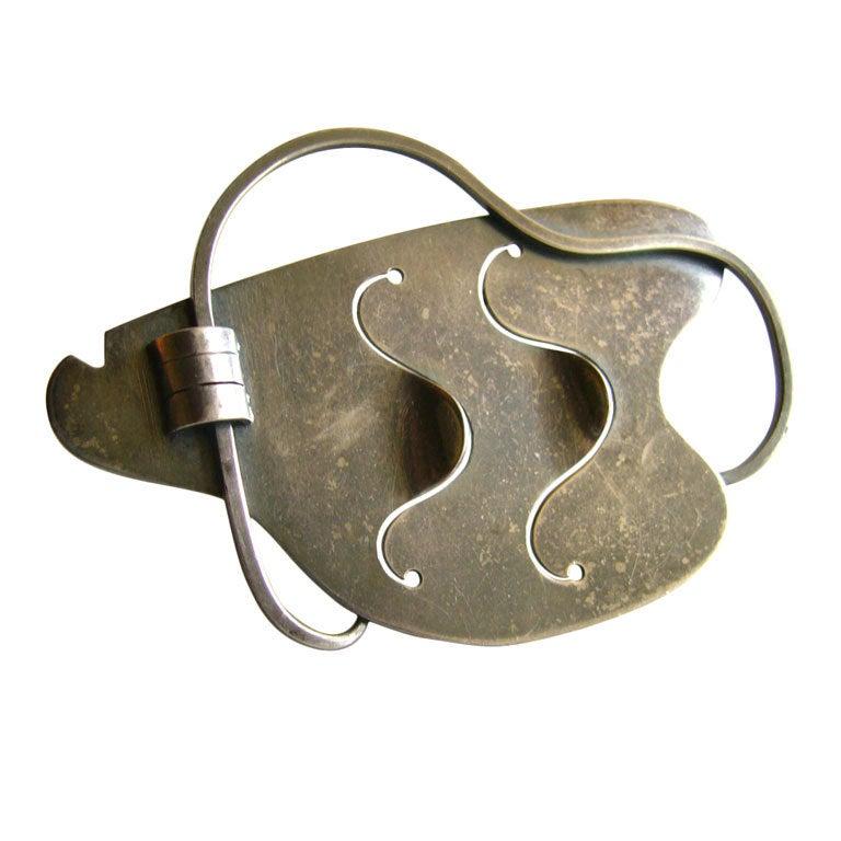 Paul Lobel Sterling Silver American Modernist Free Form Brooch For Sale
