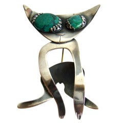 Robert and Audrey Engstrom Malachite Sterling Silver Cat Brooch