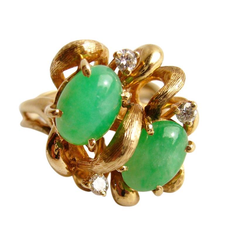 jade gold cocktail ring at 1stdibs
