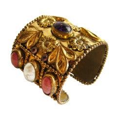 1980s Maison Gripoix Large French Cuff Bracelet