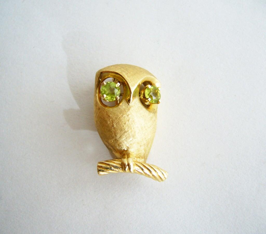 Peridot Gold Owl Brooch 4
