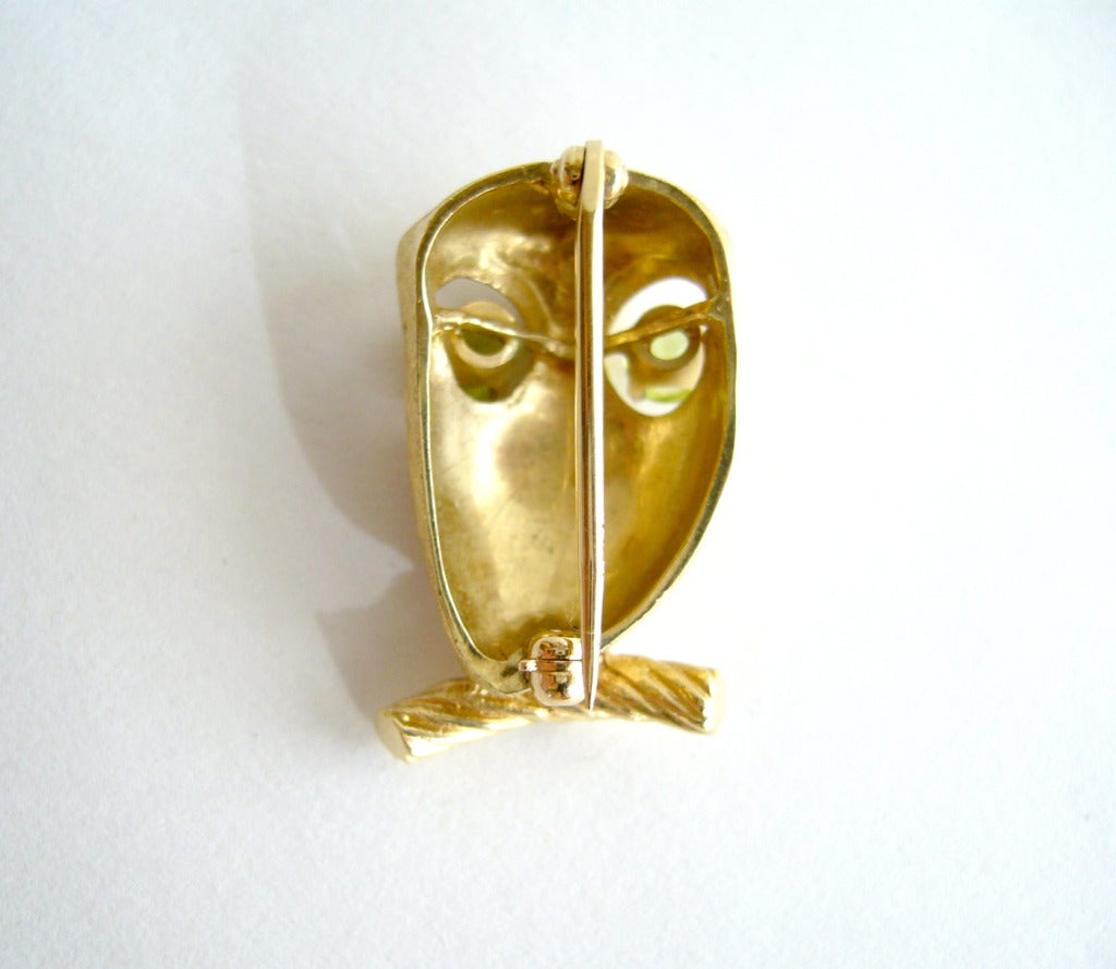Peridot Gold Owl Brooch For Sale 1