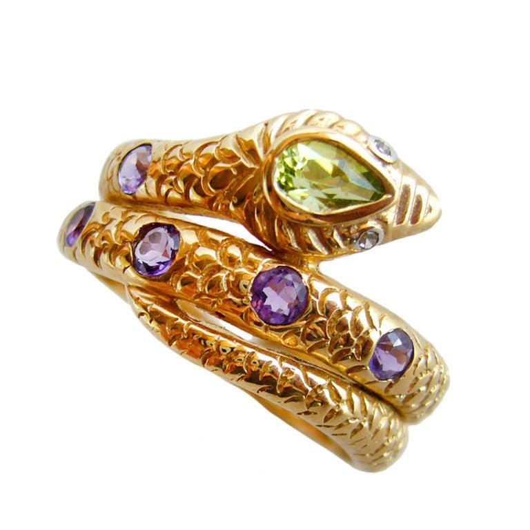 peridot amethyst gold snake ring at 1stdibs