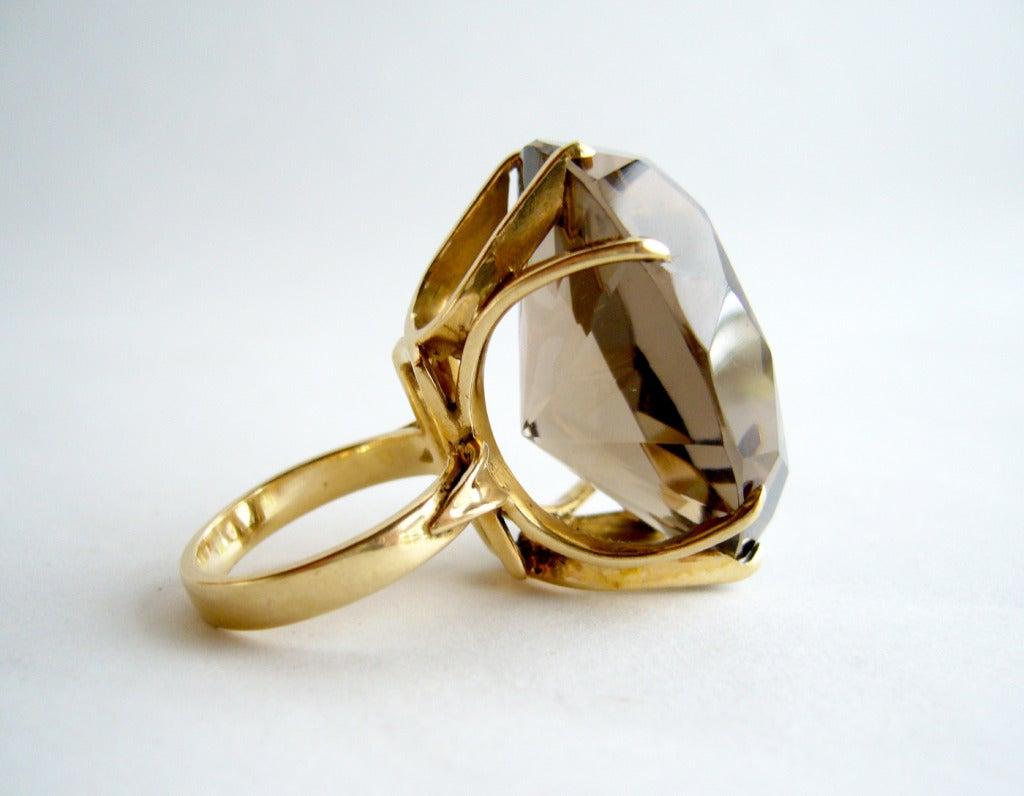 smokey quartz gold cocktail ring at 1stdibs