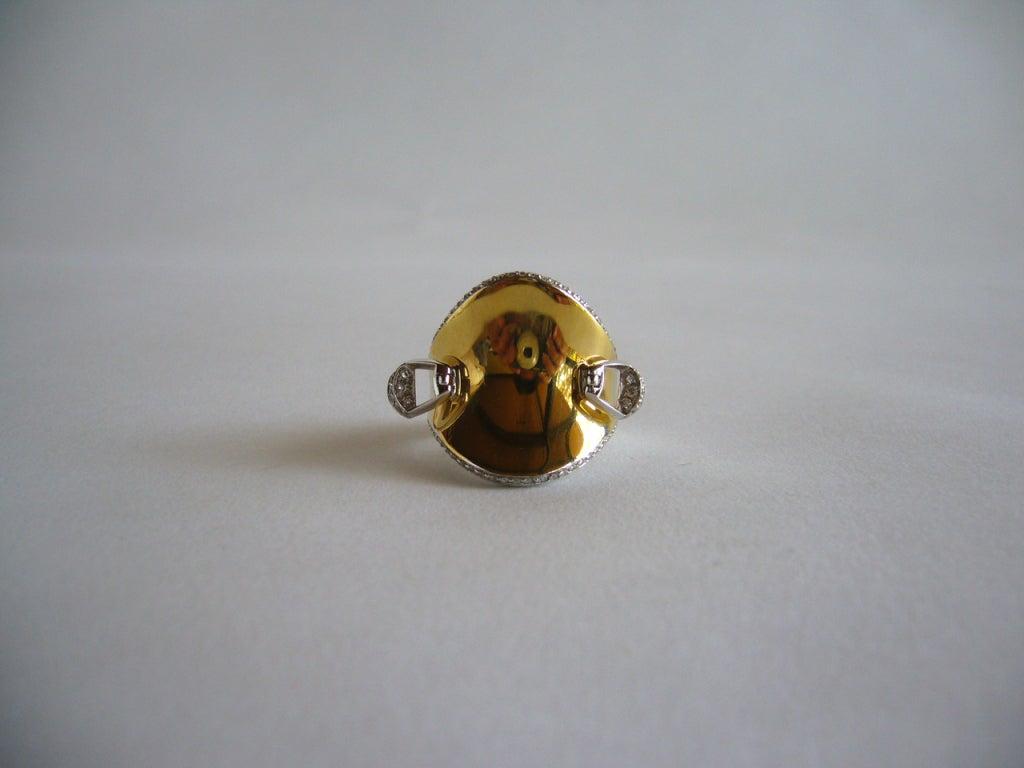 Hermes Gold Stirrup Ring