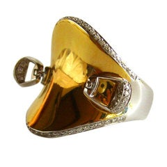 ROBERTO COIN Diamond Gold Horse Saddle Stirrup Ring