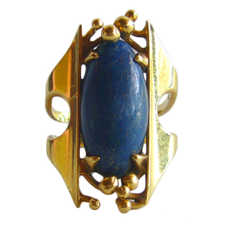 SHOSHANNA Gold and Lapis Lazuli Ring For Sale