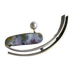 Rare Idella La Vista Blue Pearl Opal Sterling Silver Brooch