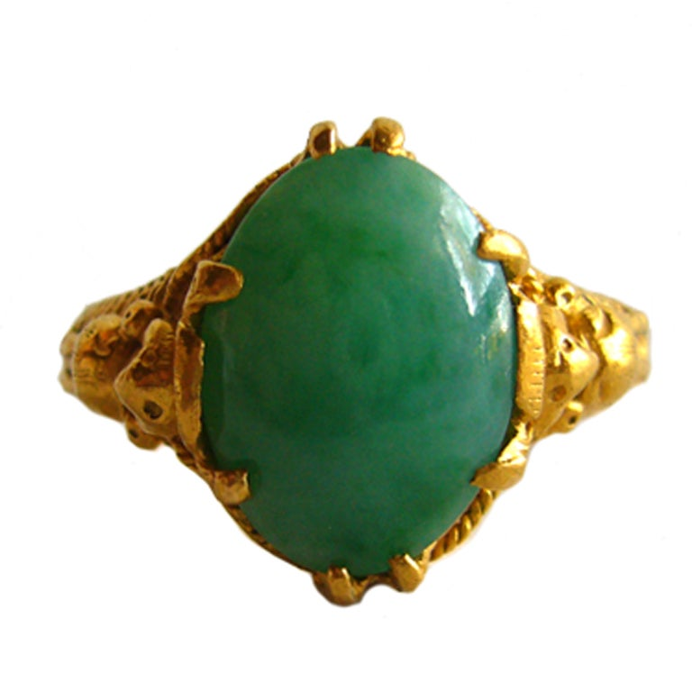 asian gold and jade ring at 1stdibs