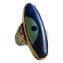 Daniel Macchiarini Lapis Turquoise Silver Gold Dot Cocktail Ring