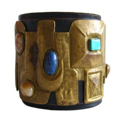 Hand Made Leather Cuff Bracelet With Lapis Turquoise and Quartz