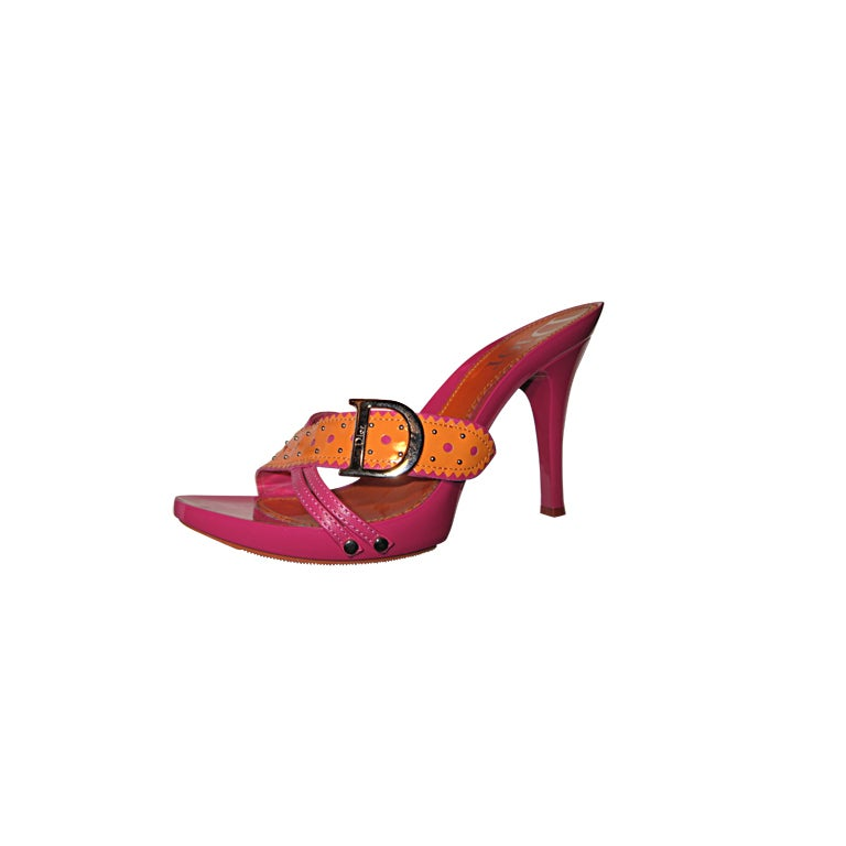 Dior Pink and Orange Sandals  For Sale