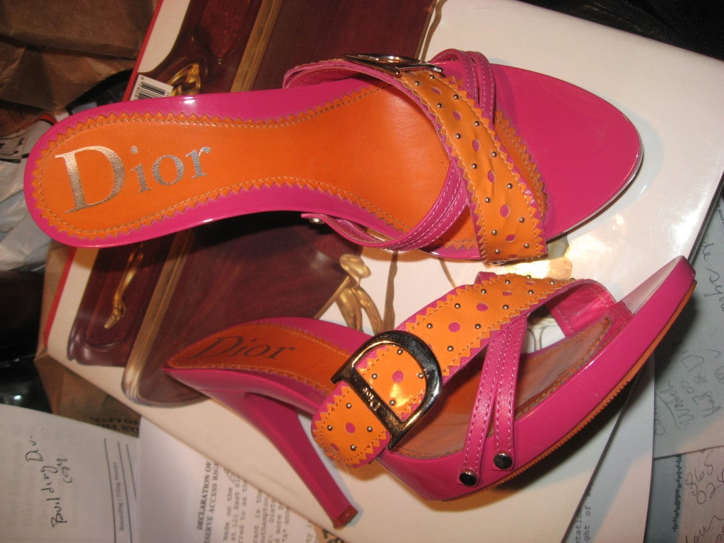 Brown Dior Pink and Orange Sandals  For Sale