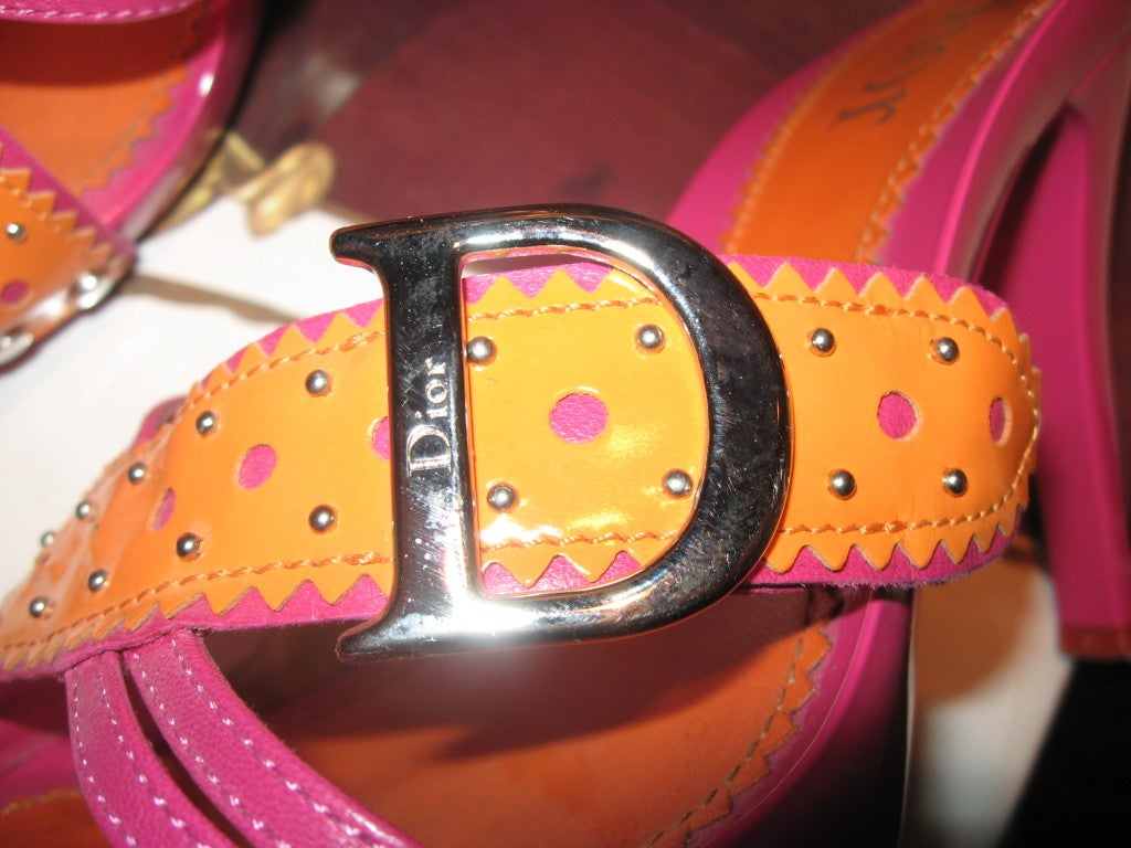 Women's Dior Pink and Orange Sandals  For Sale