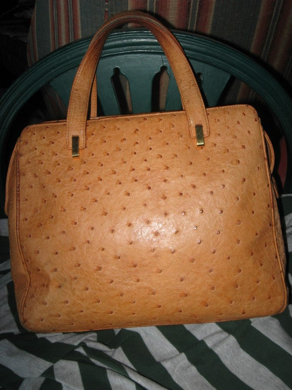 Large Ostrich Honey Color Italian Bag-Leather Lined