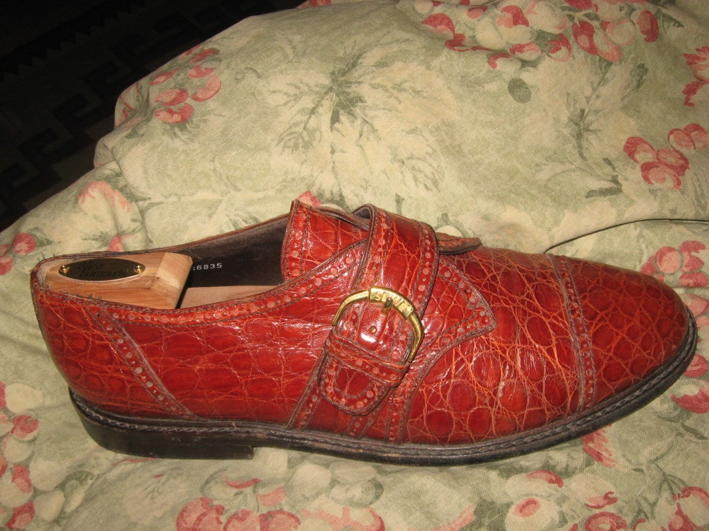 Men's Alligator  Shoes by Susan Bennis/Warren Edwards In Excellent Condition For Sale In Water Mill, NY