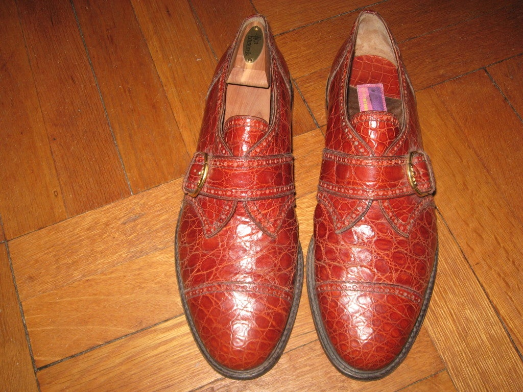 Red Men's Alligator  Shoes by Susan Bennis/Warren Edwards For Sale