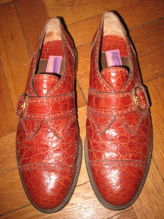 Fabulous Pr. of Vintage Alligator Men's Shoes by 