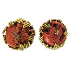 Grosse Germany coral & gold ear clips