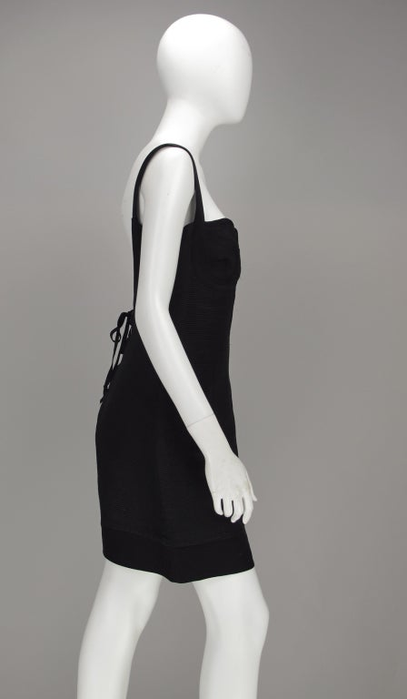 Women's Gianni Versace Couture black laced back corset dress, 1990s For Sale