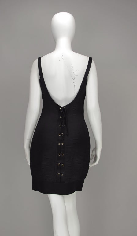 Gianni Versace Couture black laced back corset dress, 1990s For Sale 1
