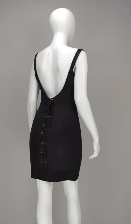 Gianni Versace Couture black laced back corset dress, 1990s For Sale 2