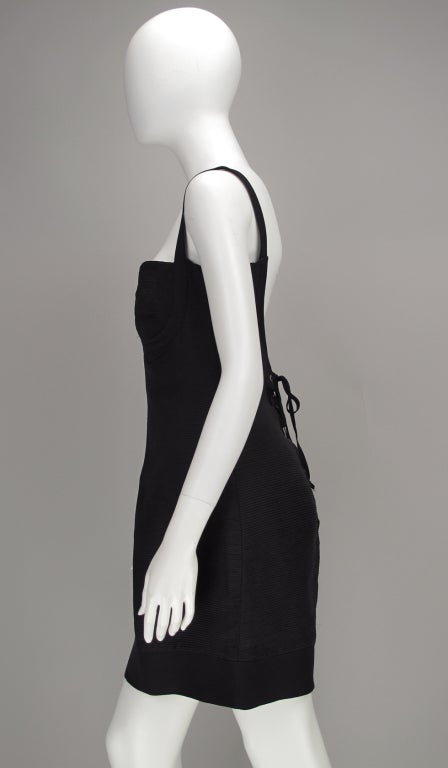 Gianni Versace Couture black laced back corset dress, 1990s For Sale 5
