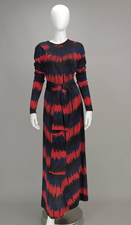 Black Vintage Roberta di Camerino Red and Blue Optical Print Maxi dress 1977 For Sale
