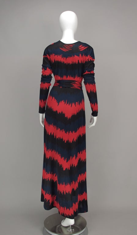 Vintage Roberta di Camerino Red and Blue Optical Print Maxi dress 1977 For Sale 1