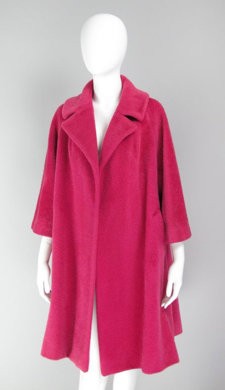1960s Lilli Ann raspberry swing coat image 2