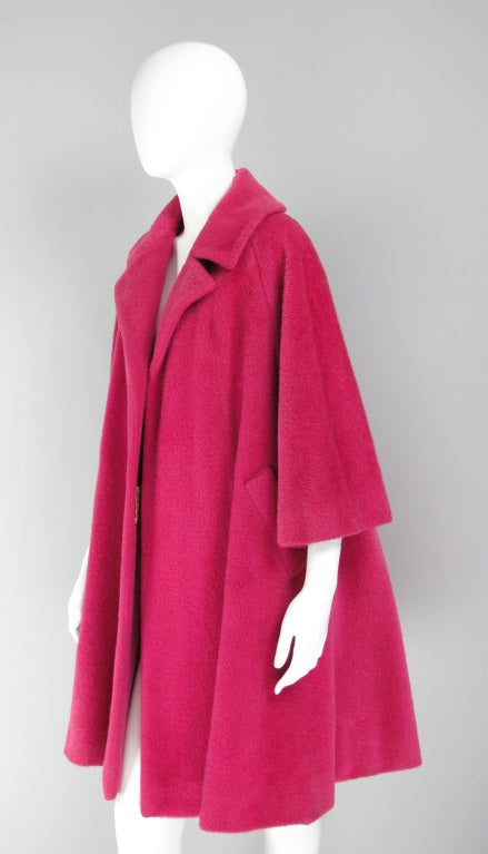 1960s Lilli Ann raspberry swing coat image 3
