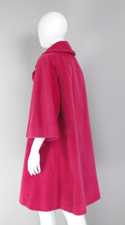 1960s Lilli Ann raspberry swing coat image 4
