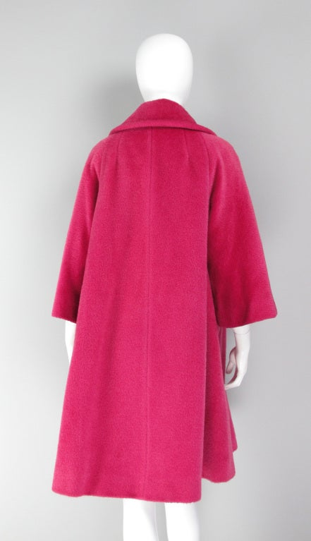 1960s Lilli Ann raspberry swing coat image 5