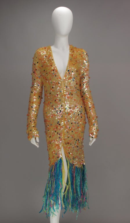 Brown Enrico Coveri confetti mermaid coat 1980s For Sale