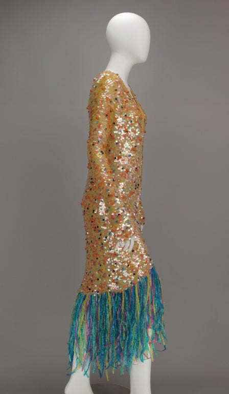 Enrico Coveri confetti mermaid coat 1980s For Sale 1
