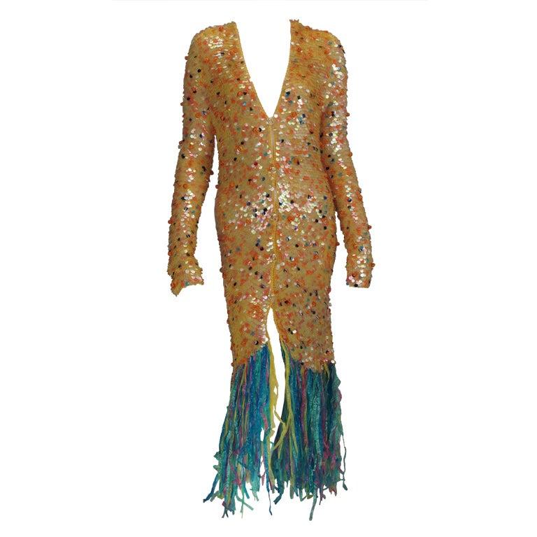 Enrico Coveri confetti mermaid coat 1980s For Sale
