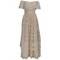 1960s boheimian lace luxe wedding dress