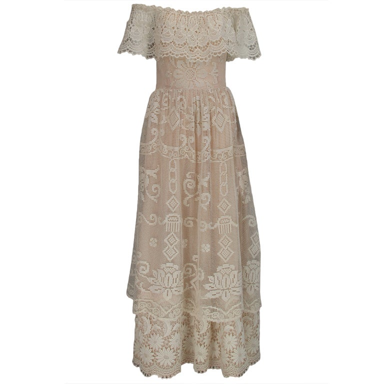 1960s boheimian lace luxe wedding dress 1