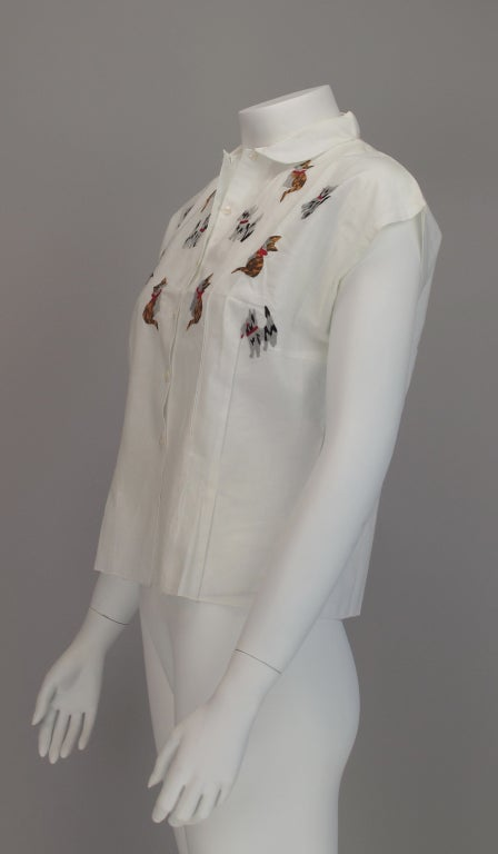 1950s Cats & Dogs 1950s embroidered blouse For Sale 2