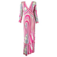 1960s Pucci silk jersey gown in pink & gray