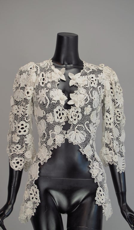 1900s Edwardian Irish lace redingote style jacket 2