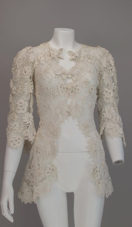 1900s Edwardian Irish lace redingote style jacket 3