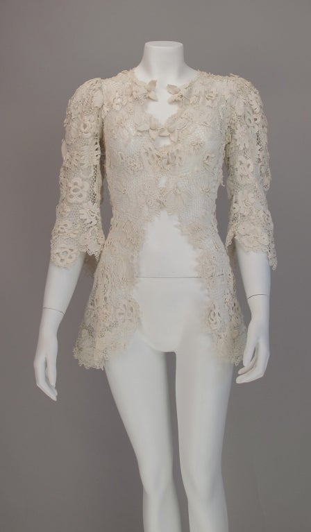 1900s Edwardian Irish lace redingote style jacket 4