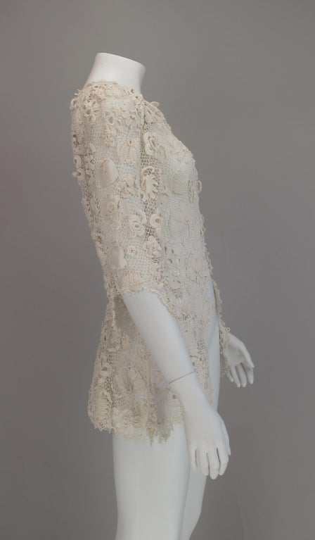 1900s Edwardian Irish lace redingote style jacket 5