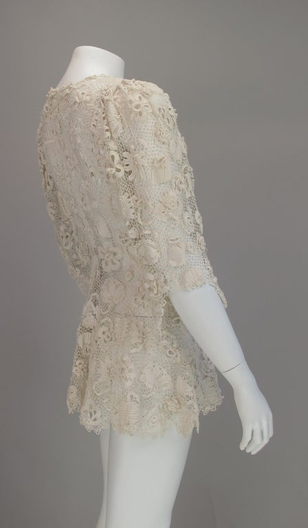 1900s Edwardian Irish lace redingote style jacket 6