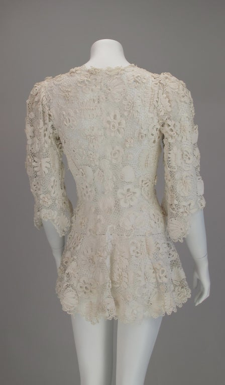 1900s Edwardian Irish lace redingote style jacket 7