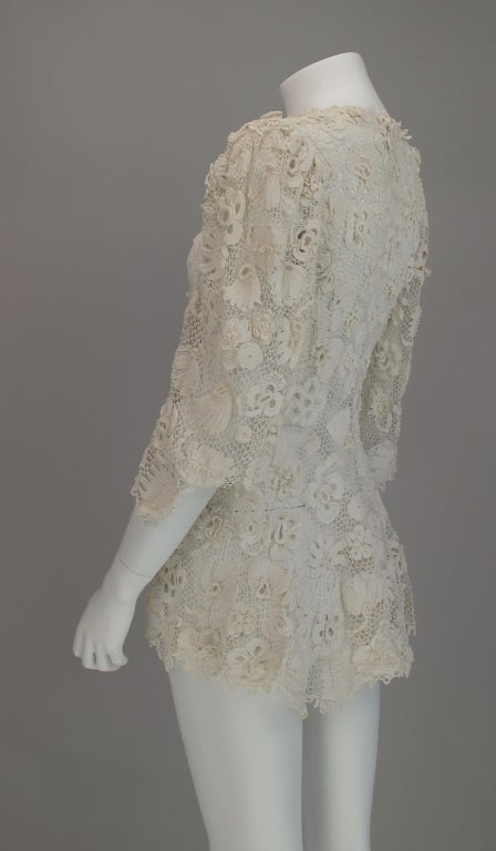 1900s Edwardian Irish lace redingote style jacket 8