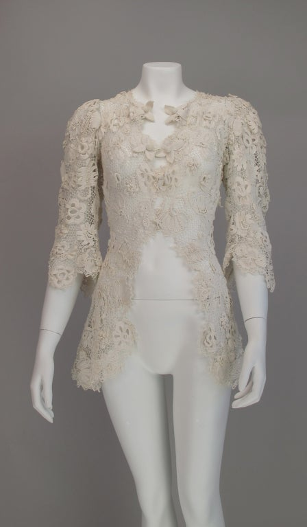 1900s Edwardian Irish lace redingote style jacket 9