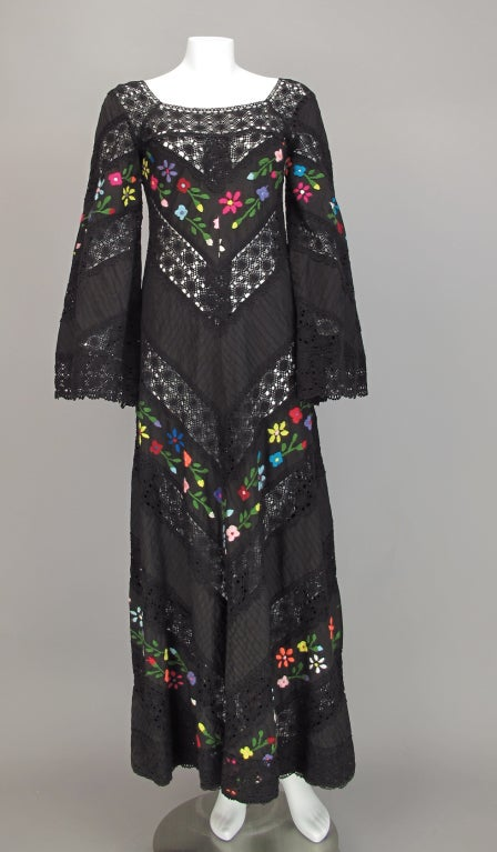 Embroidered boheimian peasant dress 1960s 2
